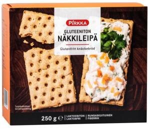 Хлебцы без глютена Pirkka gluteeniton näkkileipä 250гр