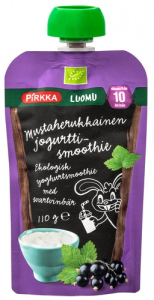 Органический смузи с йогуртом (банан-смородина) с 10мес. Pirkka Luomu 110гр