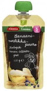 Органическая каша с фруктами (банан-черника) с 5мес. Pirkka Luomu 110гр