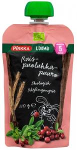 Органическая каша с фруктами (брусника-яблоко) с 5мес. Pirkka Luomu 110гр