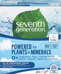 Натуральные Эко таблетки для посудомоечных машин без запаха Seventh Generation  24шт.