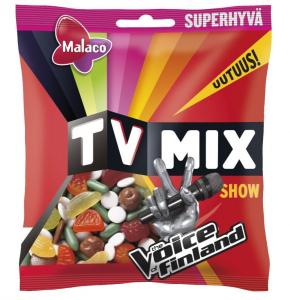 Ассорти фруктовых и лакричных жевательных конфет и карамелек Malaco TV Mix Show choco 280гр