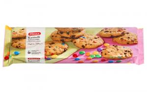 Овсяное печенье с шоколадной крошкой и разноцветным дражже Pirkka Karuselli suklaacookie 150гр