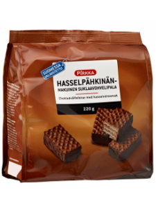 Вафли с ореховой начинкой в шоколаде Pirkka hasselpähkinänmakuinen suklaavohvelipala 220гр