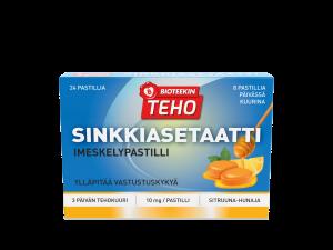 Таблетки для горла с цинком (мед и лимон)10мг Bioteekin Teho Sinkkiasetaatti 20таб.