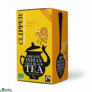 Чай индийский, черный органический со специями Clipper Luomu indian chai musta tee 20пак.
