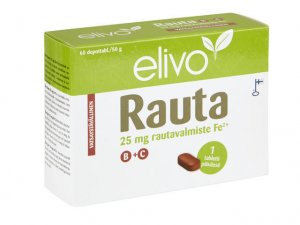 Комплекс витамин Elivo Rauta Железо 25мг + группа витамин B+C 60кап.