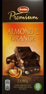 Темный шоколад с миндалем и апельсином Marabou Premium 2х90гр.