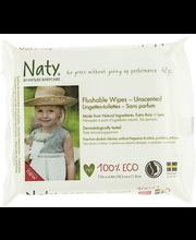 Смываемые детские влажные салфетки без запаха Naty, 42шт Eco