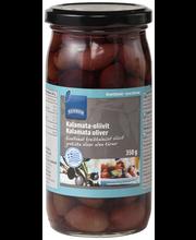 Маслины каламата в рассоле без косточки Rainbow Kalamata-oliivit 350/185гр