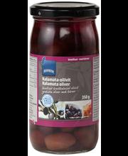 Маслины каламата в рассоле с косточкой Rainbow Kalamata-oliivit 350/200гр
