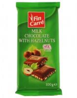Шоколад молочный с дробленым фундуком Finn Carre 100гр