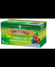 Зелёный чай с малиной и черникой  Twinings Green Tea 25пак.