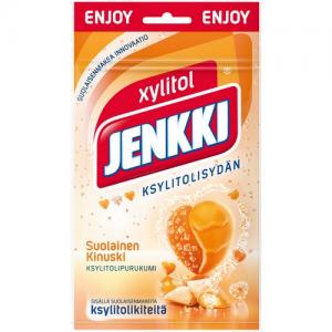 Жевательная резинка без сахара (карамель и соль) Jenkki suolainen kinuski 70гр
